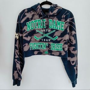 Bottle Dame Fightin' Irish Cropped Bleached Hoodie